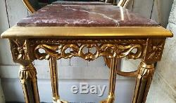 1 of PAIR Marble VINTAGE Gold French Louis Shabby Chic BED SIDE Lamp Sofa Table