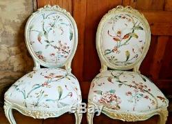 1 of Pair FRENCH LOUIS Shabby Chic Cream Carved Floral LINEN Hall Boudoir Chair