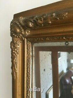 19C Antique French Wall Mirror Original Heavily Foxed Patina Glass 45x38cm m172