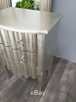 2 Drawer Bedside Chest Cabinet Silver Bedroom French Furniture Shabby Chic