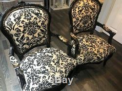 2 French Louis Style Shabby Chic Chair Black and cream designW Black WoodenFrame