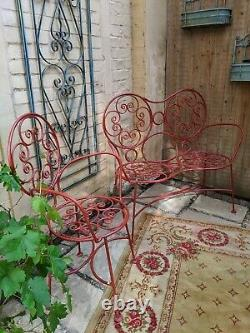 3 Pc Antique French Cast IRON Shabby Chic RED Garden 2 Seater Bench Chairs Set