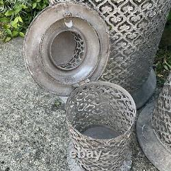 3 x Giant Metal Garden Lantern French Chic Grey Shabby Moroccan Large Tall