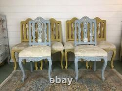 35% Off 6 Upholstered Dining Chairs, French Shabby Chic Style, Blue And Mustard