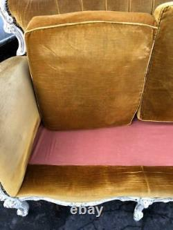 A Gold Silk Velvet French Louis Antique Vintage Shabby Chic Sofa Settee Couch