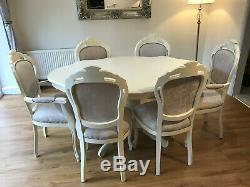 A Stunning French style Shabby chic table & 6 matching chairs in light cream
