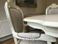 A Stunning French style Shabby chic table and six matching chairs