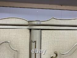 Aged Louis XV Style Shabby Chic French Carved 4 Door Wardrobe Armoire