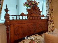 Antique Bed French Oak Double Bed