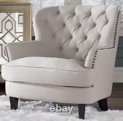 Antique French Armchair Vintage Style Furniture Shabby Chic Button Bedroom Seat