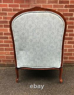 Antique French BERGERE CHAIR & STOOL Armchair & Footstool Shabby Chic Vintage