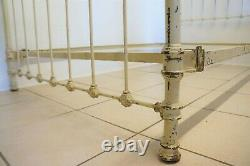 Antique French Bed Large Single Iron Metal & Brass Shabby Chic Frame Cream
