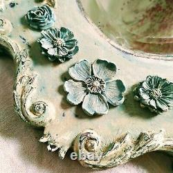 Antique French Hand Painted Chippy Paint Shabby Chic Carved Bevelled Mirror
