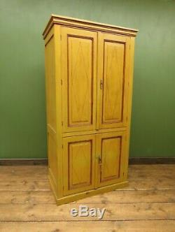 Antique French Painted Pine Larder Cupboard with original Yellow Paint