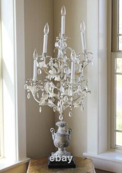 Antique French Table Chandelier Girandole Crystal Prisms Stunner! Shabby Chic