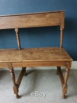 Antique French Wooden Church Bench Pew Vintage Rustic Shabby Chic 1900s 148cm