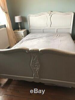 Antique Oak French Double Bed Frame Grey Annie Sloan Chalk Paint Shabby Chic