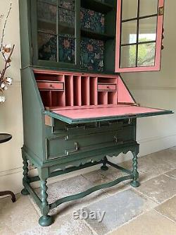 Antique Painted French Shabby Chic Bookcase Cabinet Armoire Bureau