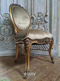 Antique Vintage Style Gold Gilt Shabby Chic French ROCOCO Louis Carved Chair