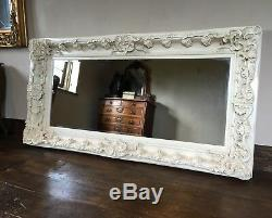 Antique White Cream Ivory Ornate Shabby Chic French Overmantle Wall Mirror 5ft