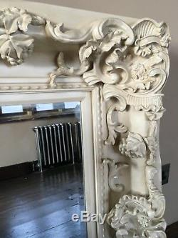 Antique White Cream Large French Leaner Dress Shabby Chic Floor Wall Mirror 6ft