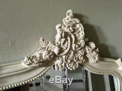 Antique White French Ivory Shabby Chic Over Mantle Scroll Arch Wall Mirror