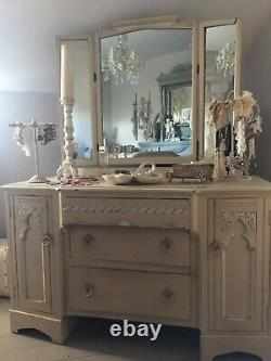 Antique dressing table, chest of drawers. Painted shabby chic french style