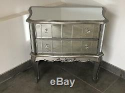 Argente French Mirrored Furniture Silver Chest of 2 Drawers Shabby Chic Vintage