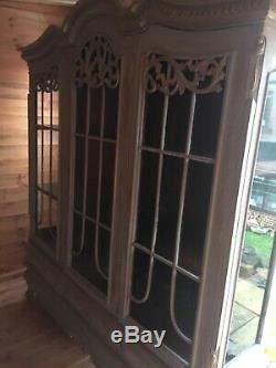 Beautiful French Shabby Chic Style Triple Armoire Display Cabinet