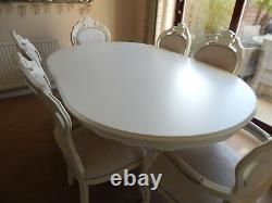 Beautiful French style Shabby chic table & 6 matching chairs in light cream