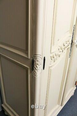Beautiful Ornate French Style Armoire Cream Carved Shabby Chic Double Wardrobe