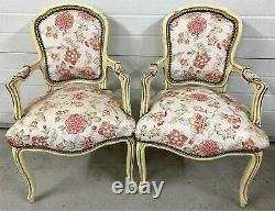 Beautiful Pair of French Louis Style Wood Shabby Chic Armchairs in Toile Fabrics