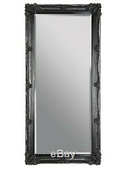 Black French wall Floor Standing Full Length Mirror Shabby Chic COLLECT ONLY CW1