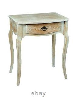 Bordeaux French Oak Effect 1 Drawer Lamp Table / Shabby Chic Bedside End Table