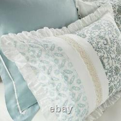 CHIC BLUE LACE 9pc King COMFORTER SET FRENCH COTTAGE SHABBY PAISLEY DAWN