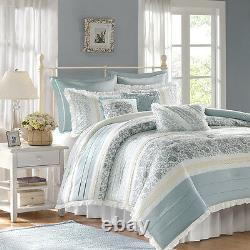 CHIC BLUE LACE 9pc Queen COMFORTER SET FRENCH COTTAGE SHABBY PAISLEY DAWN