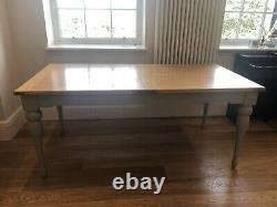Chunky French Solid Oak & Slate Grey Extending Dining Table and Bench