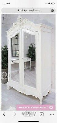Coach House Shabby Chic French mirrored Double wardrobe Linen Cupboard Armoire
