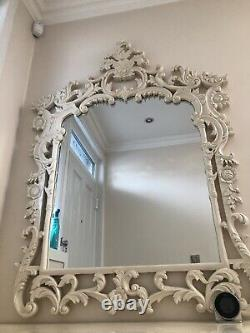 Console table French Shabby Chic, Handmade Wood, Cream Real Marble, mirror