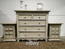 Country French Style Chic large Chest Of Drawers cream bedroom set