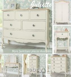 Cream Bedroom Furniture French Wooden Chest of Drawers Wardrobe Bedside JULIETTE
