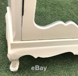 Cream French Mirrored Armoire Wardrobe Shabby Chic- Comes Apart