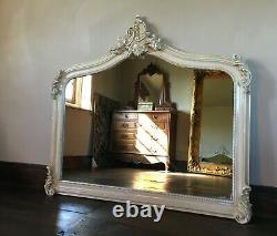 Cream Ivory French Ornate Shabby Chic Fireplace Arch Top Wall Over Mantle Mirror