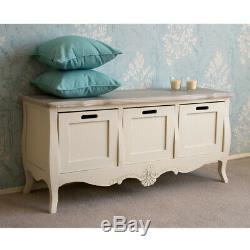 Devon 3 Drawer Storage Bench in French Style Shabby Chic Cream Painted Finish