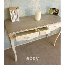 Devon Cream Painted 3 Drawer Console Table in Shabby Chic Ornate French Style