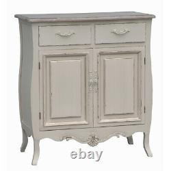 Devon Shabby Chic Cream Painted 2 Door 2 Drawer Sideboard Cupboard French Style