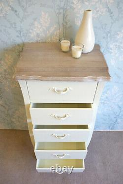 Devon Shabby Chic Cream Painted 5 Drawer Tallboy Chest of Drawers French Style