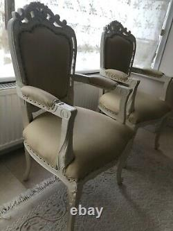 Dining chair with arms, real wood, shabby chic french style arm chairs