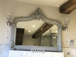 Distressed Grey Shabby Chic French Statement Over Mantle Arched Wall Mirror