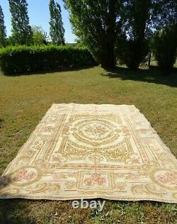 FRENCH AUBUSSON RUG 100% wool SHABBY chic ROSES HUGE area CARPET 136.2 x 96.4
